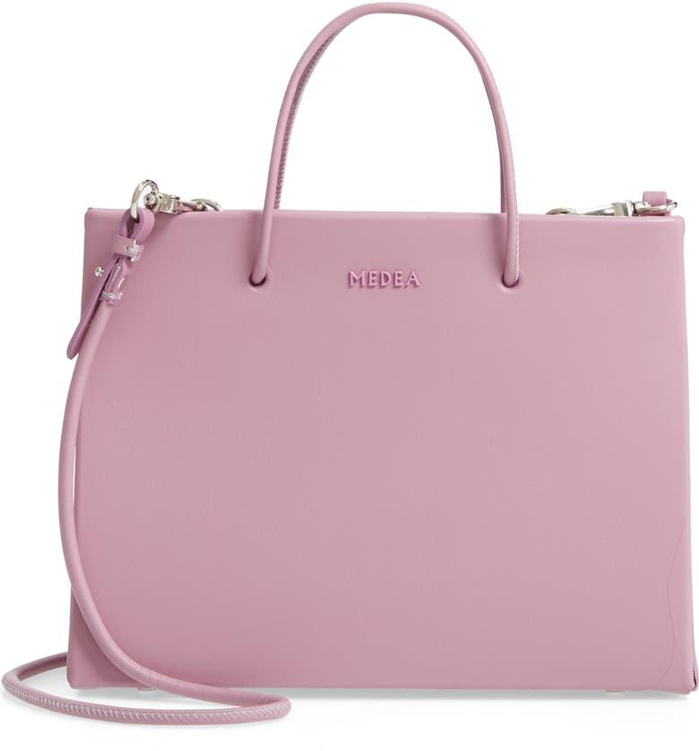 MEDEA Hanna Calfskin Leather Bag, Main, color, ORCHID