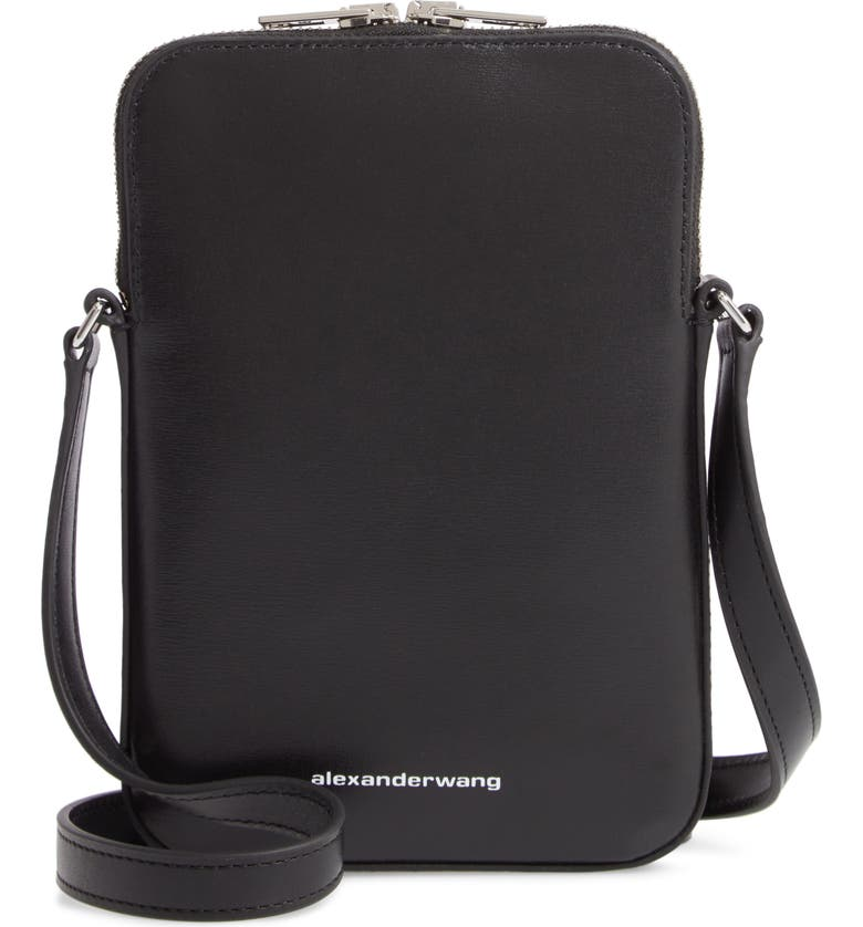 ALEXANDER WANG Logo Leather Shoulder Bag, Main, color, BLACK