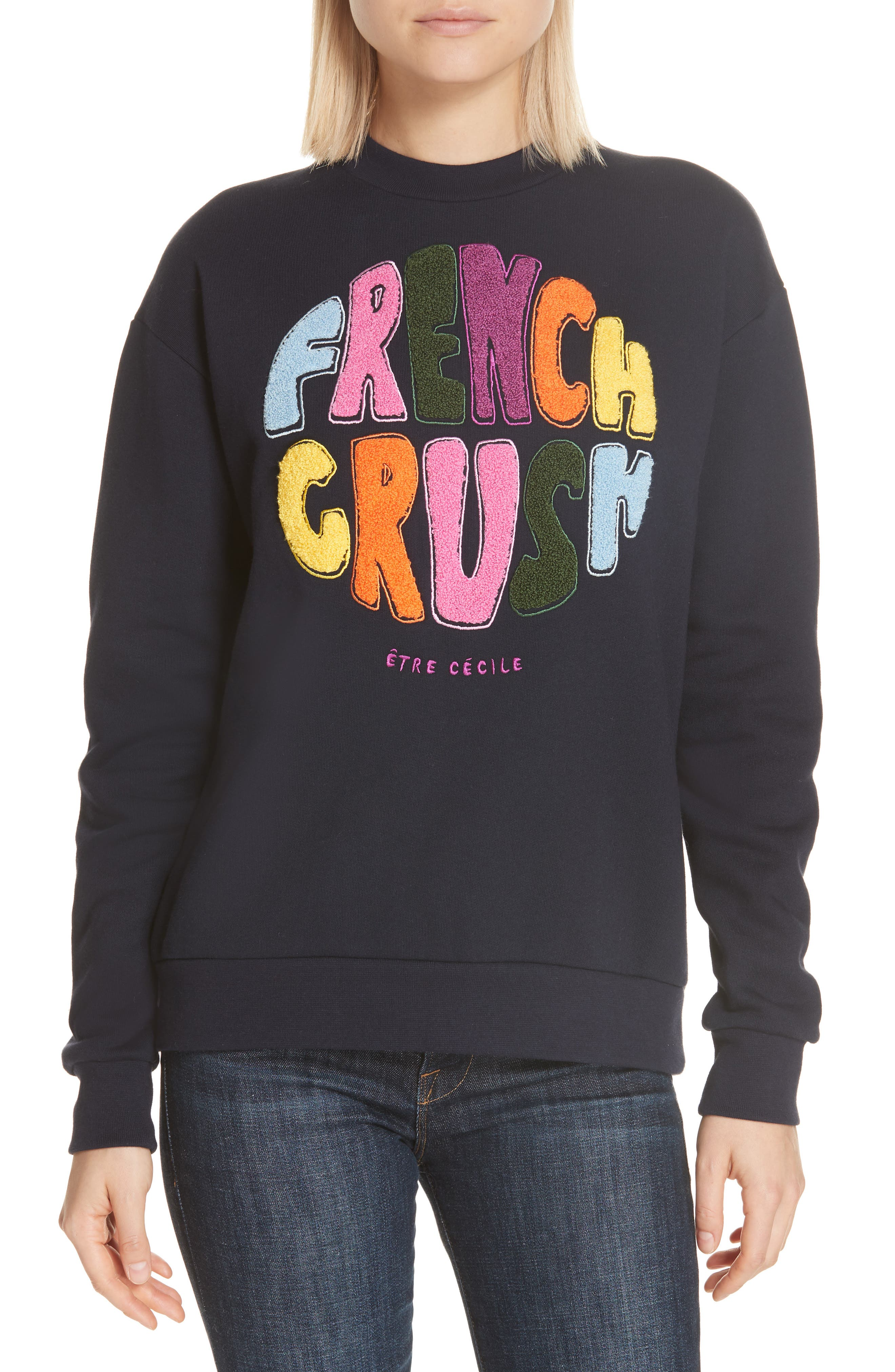 ,                             French Crush Boyfriend Sweatshirt,                             Main thumbnail 1, color,                             DARK NAVY