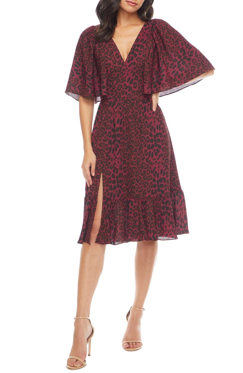 DRESS THE POPULATION Francesca Leopard Flutter Cape Sleeve Dress, Main, color, BURGUNDY LEOPARD MULTI