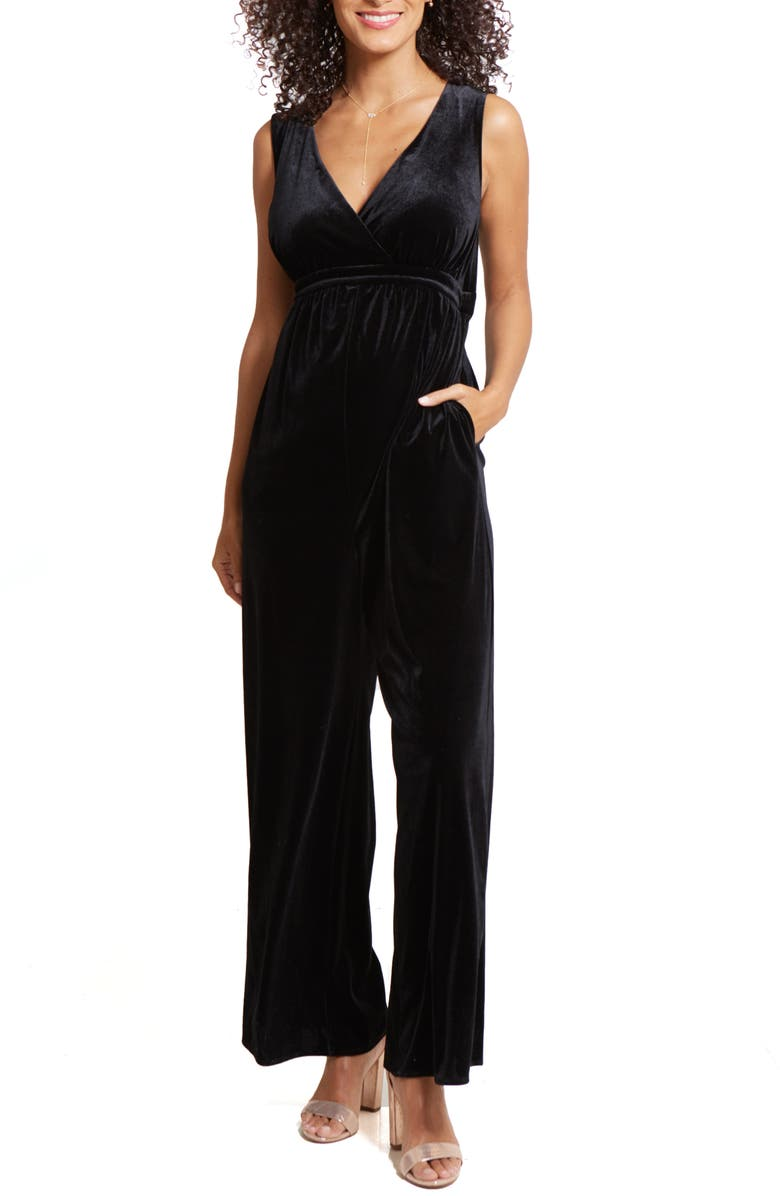INGRID & ISABEL<SUP>®</SUP> Adjustable Waist Velvet Maternity Jumpsuit, Main, color, BLACK