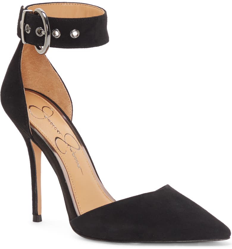 JESSICA SIMPSON Waldin Cuff d'Orsay Pump, Main, color, BLACK SUEDE