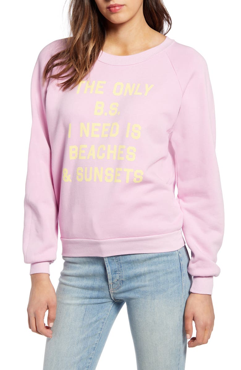 WILDFOX Fiona Beaches & Sunsets Sweatshirt, Main, color, ORCHID