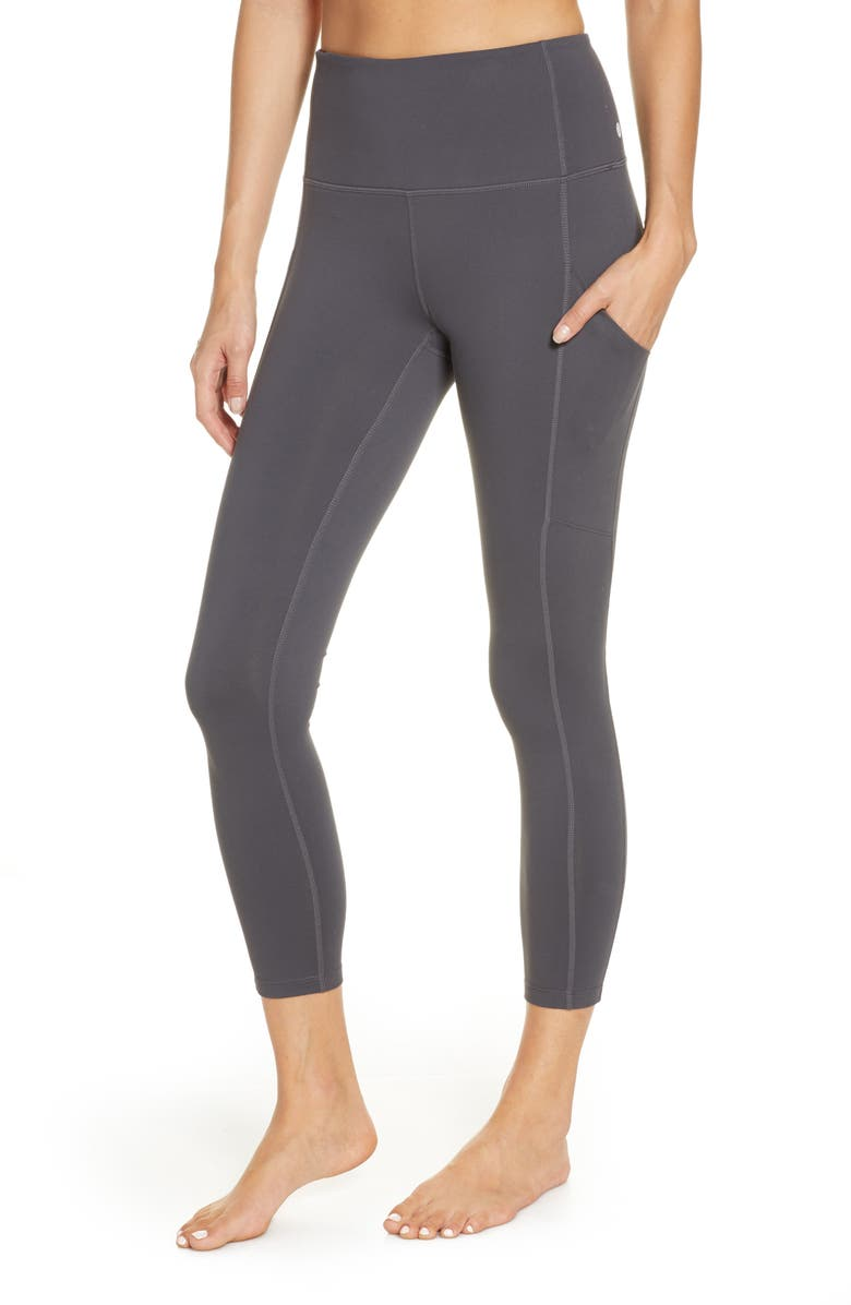 ZELLA Live In High Waist Pocket 7/8 Leggings, Main, color, GREY FORGED