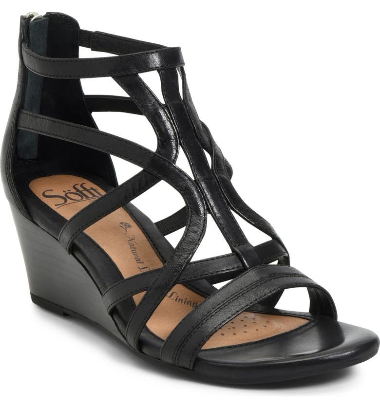 SÖFFT Malindi Sandal, Main, color, BLACK LEATHER
