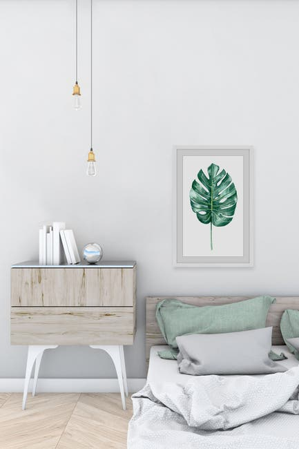 """Image of Marmont Hill Inc. Banana Leaf Portrait Framed Painting Print - 36"""" x 24"""""""