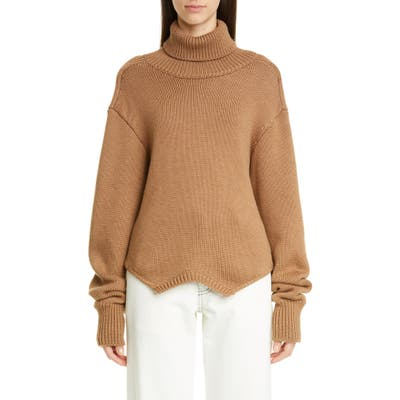 Monse Cowl Back Merino Wool Turtleneck Sweater, Brown