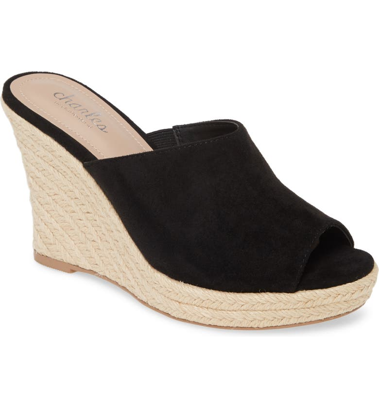 CHARLES BY CHARLES DAVID Lawrence Espadrille Wedge Sandal, Main, color, BLACK FABRIC