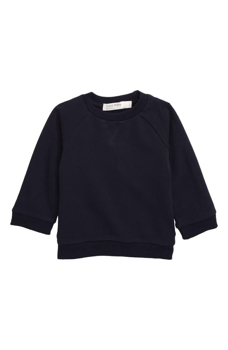 MILES BABY Stretch Organic Cotton Sweatshirt, Main, color, NAVY