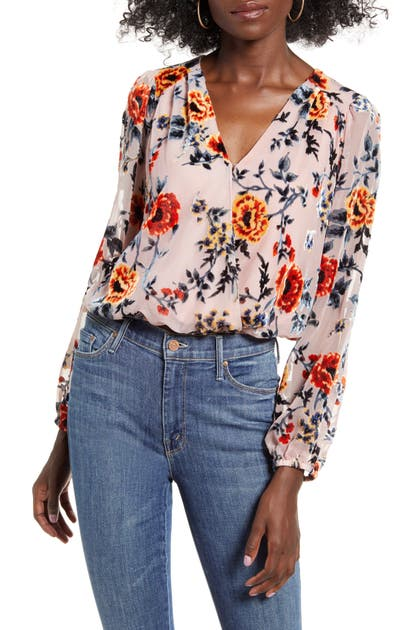 Astr Tops FAUX WRAP BURNOUT TOP