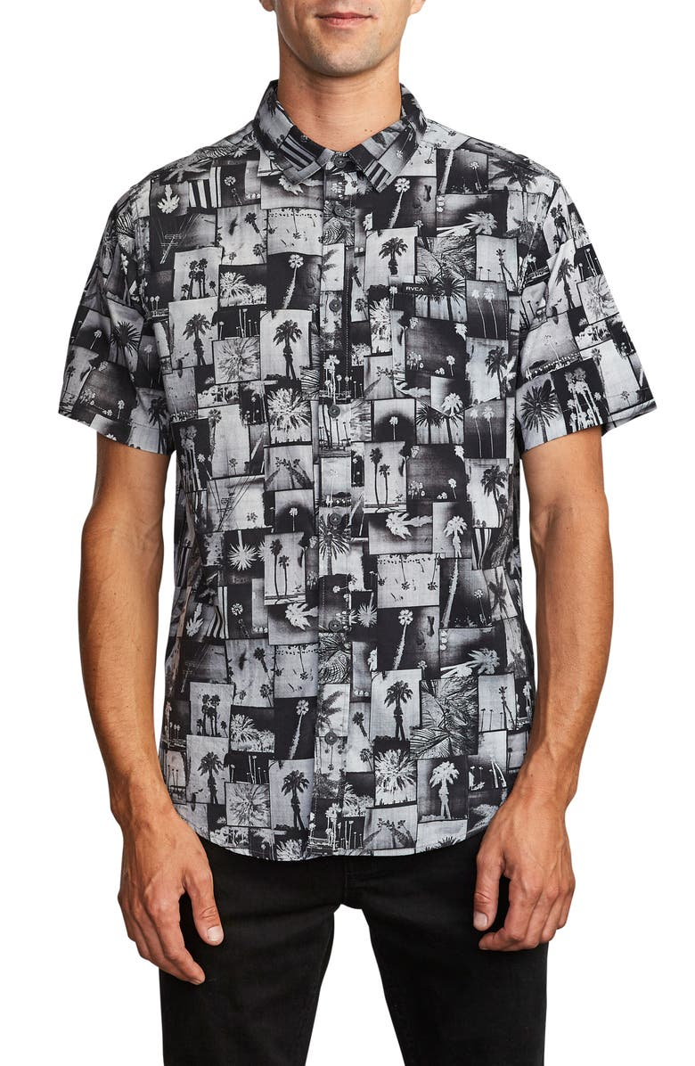 RVCA Grayscale Short Sleeve Button-Up Shirt, Main, color, 012