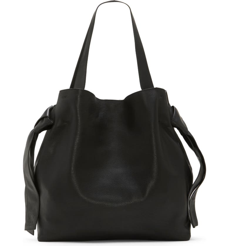 VINCE CAMUTO Cyra Leather Tote, Main, color, BLACK