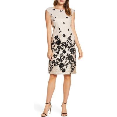 Donna Ricco Floral Flocked & Sequin Mesh Dress, Beige