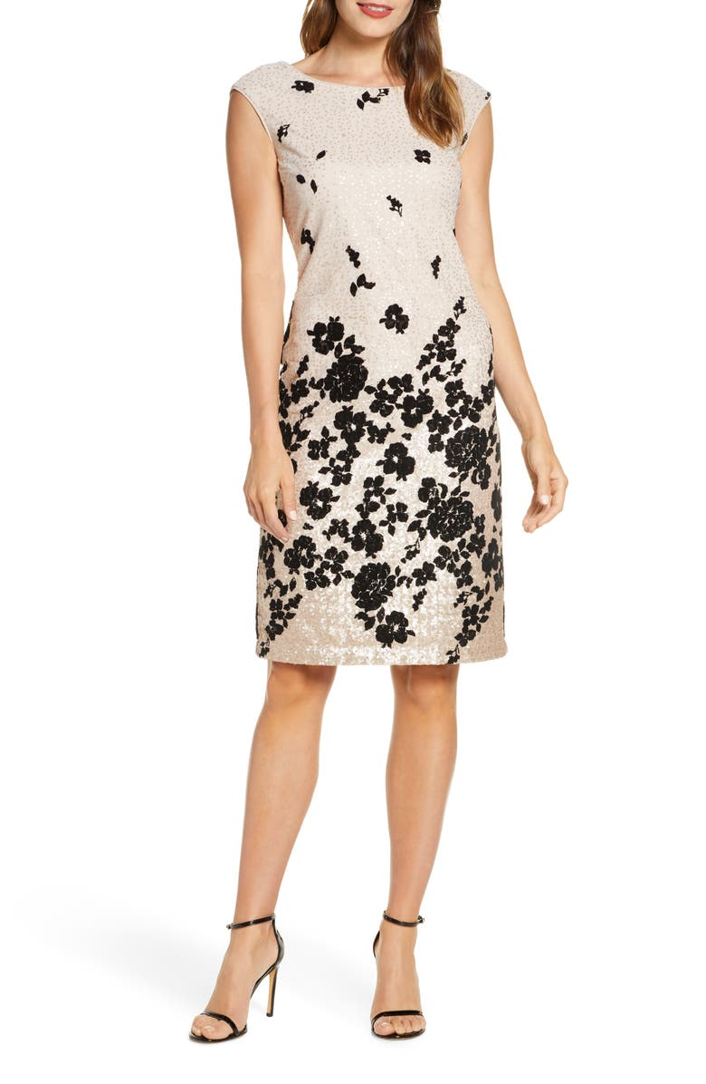 DONNA RICCO Floral Flocked & Sequin Mesh Dress, Main, color, NUDE/ BLACK
