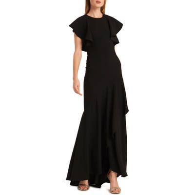 Ml Monique Lhuillier Open Back Satin Crepe Evening Gown, Black