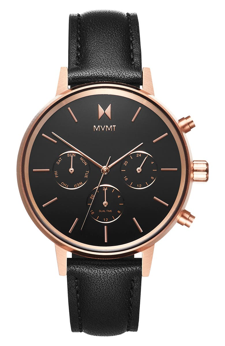 MVMT Nova Chronograph Leather Strap Watch, 38mm, Main, color, BLACK/ ROSE GOLD