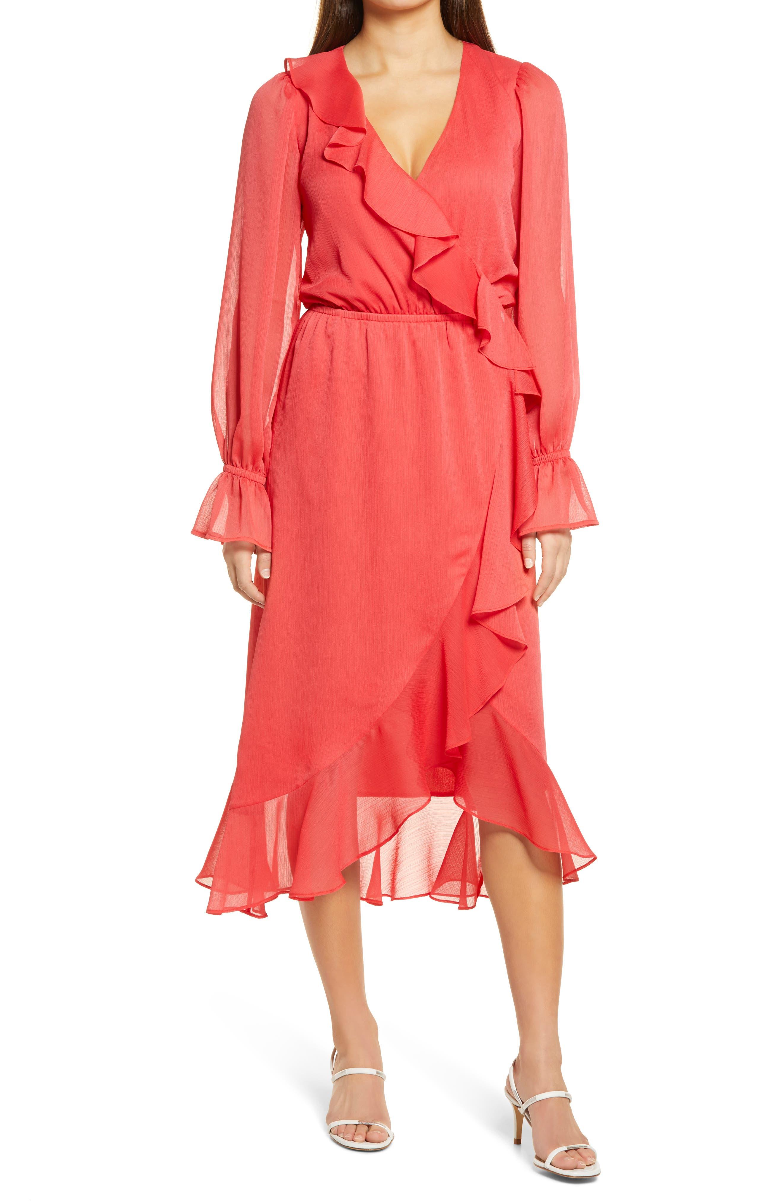 Long Sleeve Ruffle Chiffon Wrap Dress