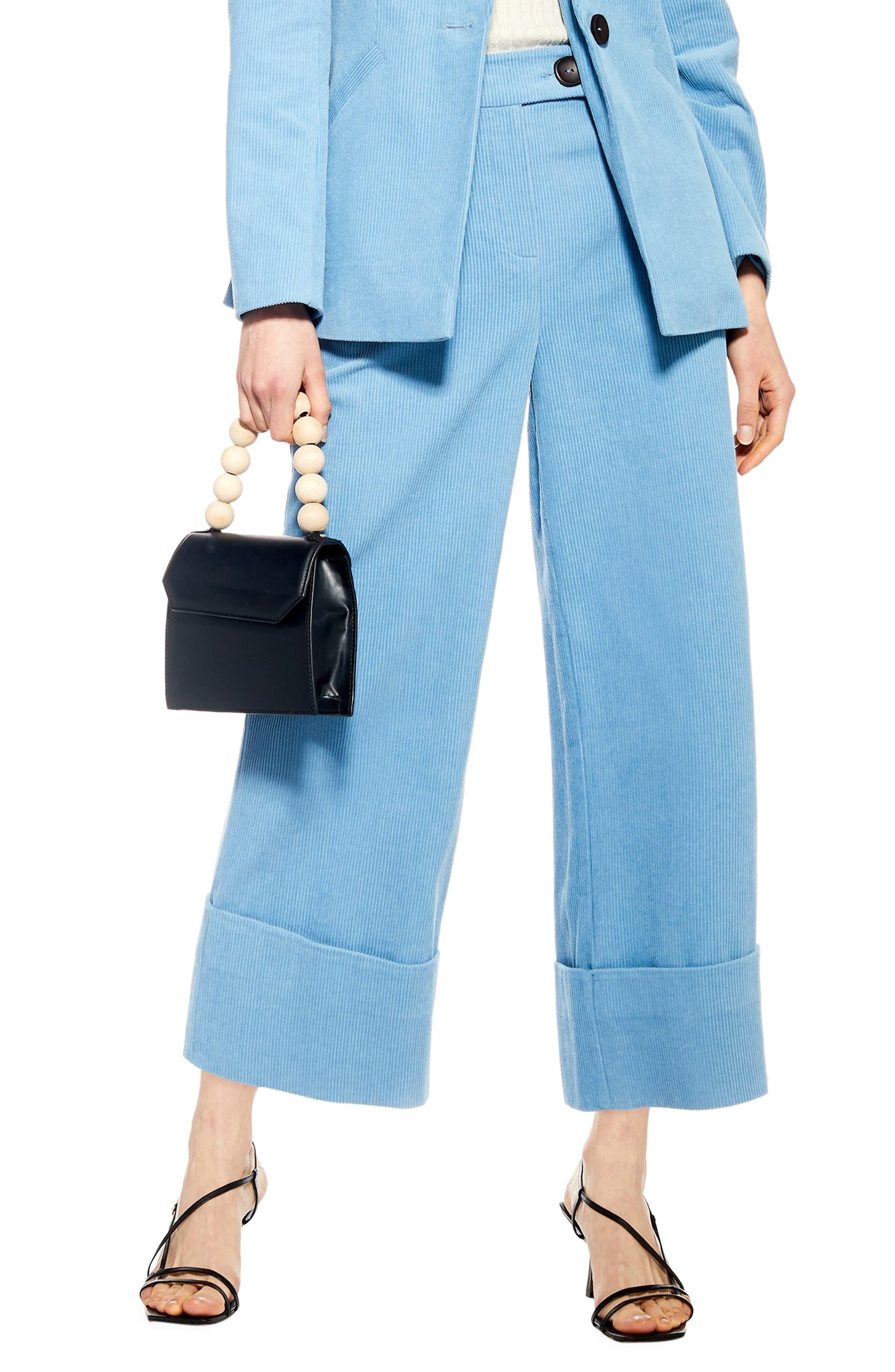 Crop Wide Leg Corduroy Trousers, Main, color, BLUE