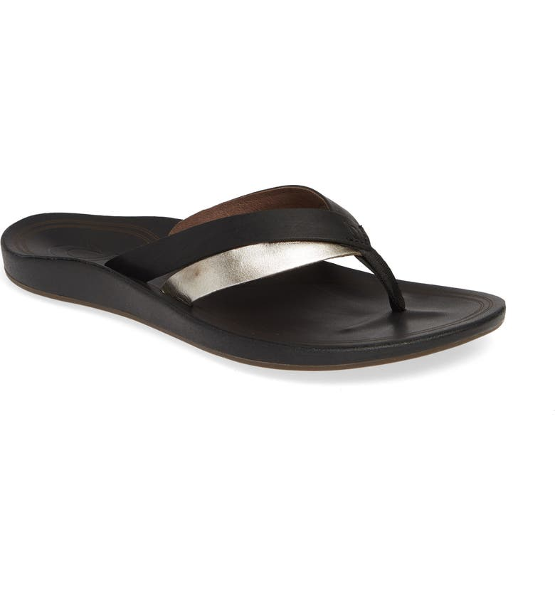 OLUKAI Kaekae Flip Flop, Main, color, BLACK/ SILVER LEATHER