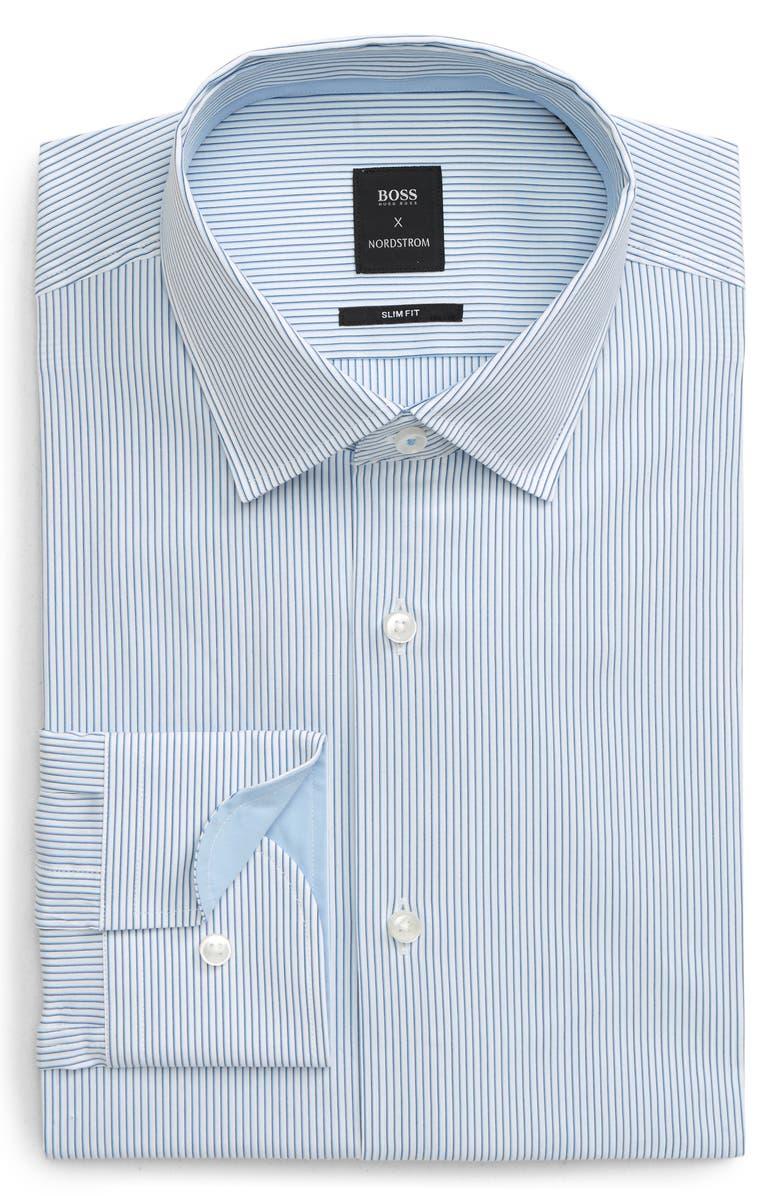 BOSS Slim Fit Stretch Stripe Dress Shirt, Main, color, MEDIUM BLUE