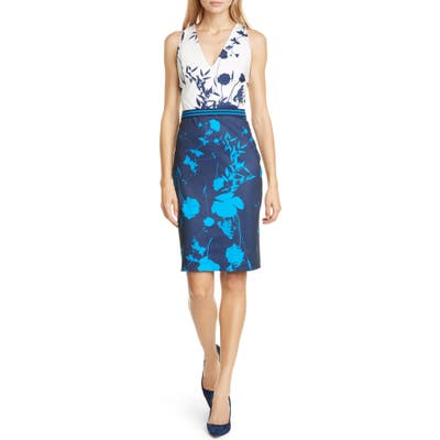 Ted Baker London Tilliai Bluebell Body-Con Dress, (fits like 12 US) - Blue