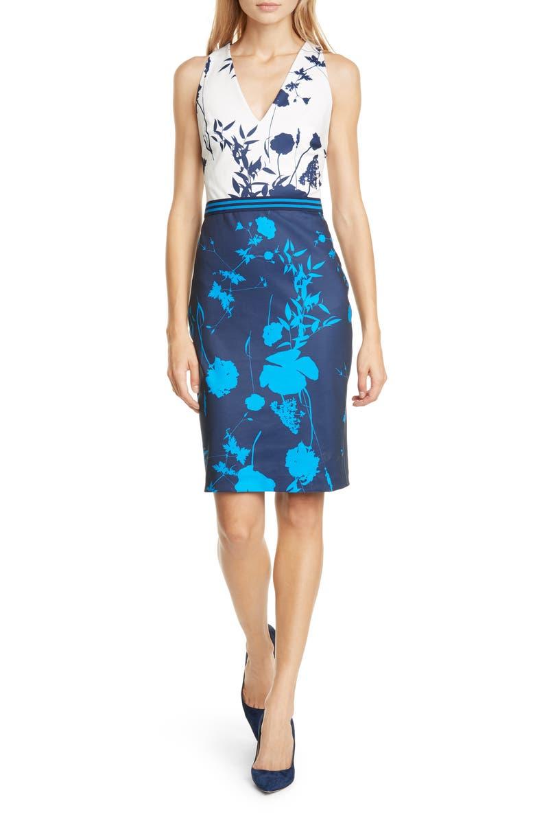 TED BAKER LONDON Tilliai Bluebell Body-Con Dress, Main, color, DARK BLUE