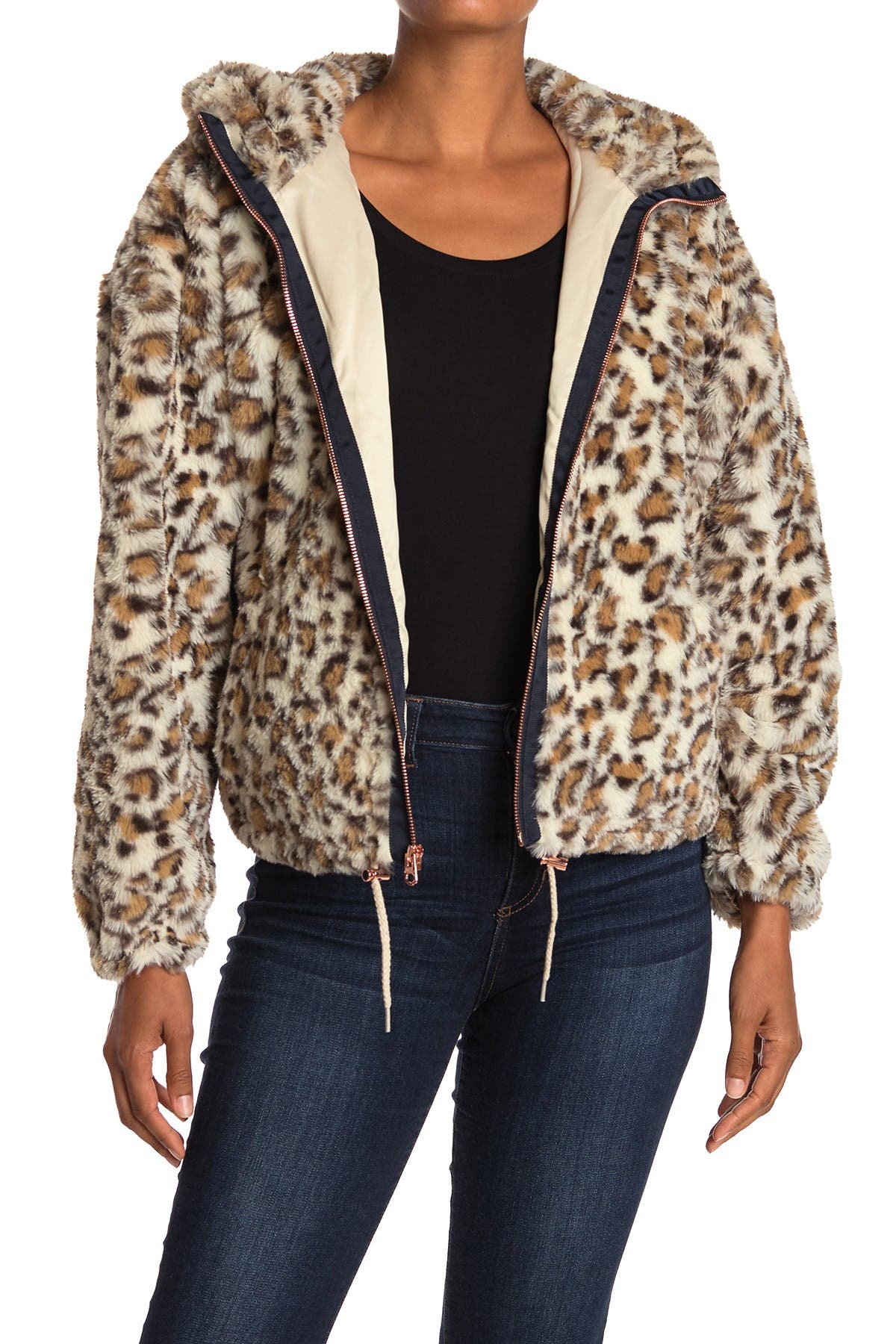 Image of Lucky Brand Faux Fur Hooded Zip Jacket