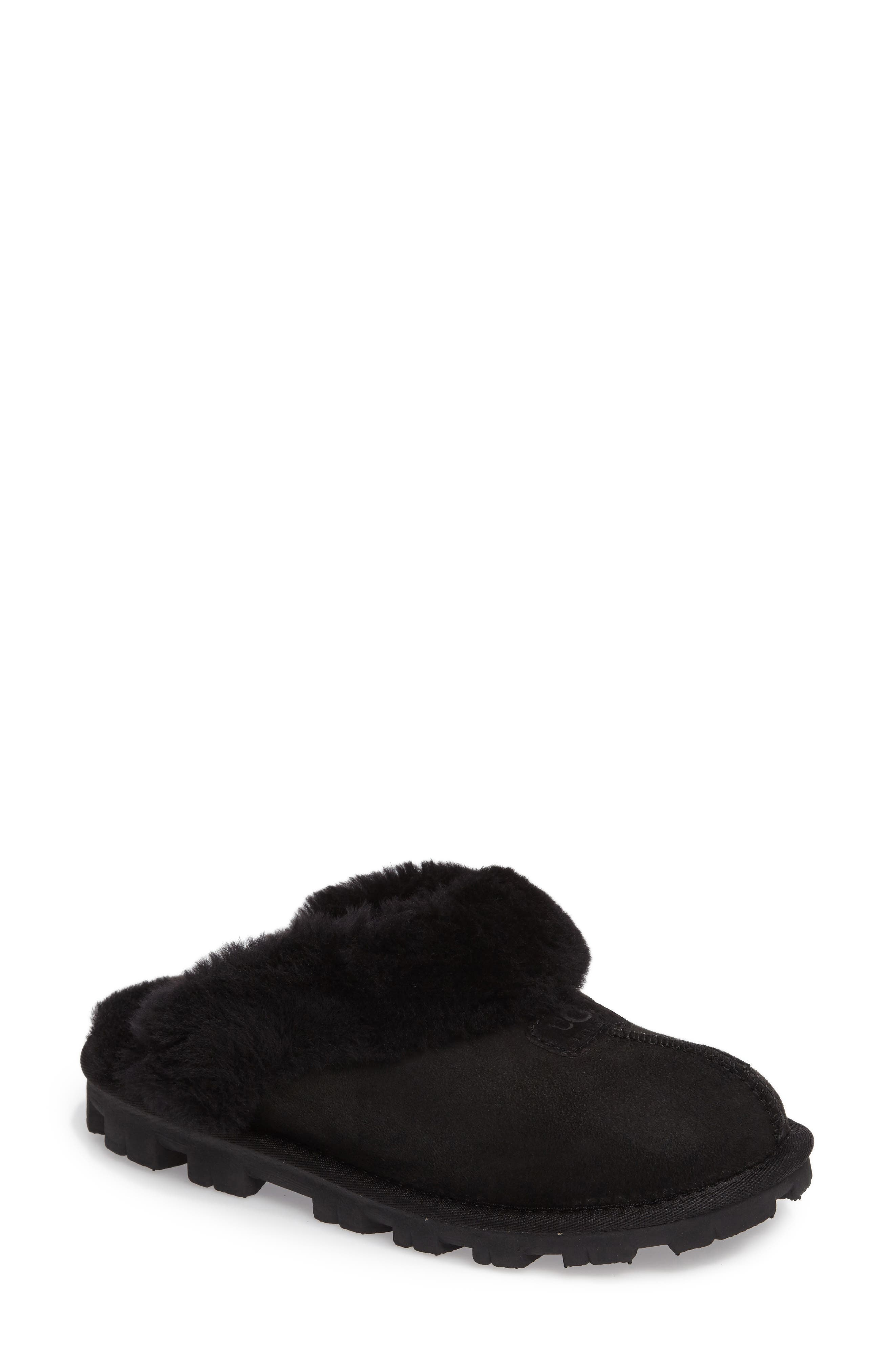 ,                             Genuine Shearling Slipper,                             Main thumbnail 152, color,                             BLK