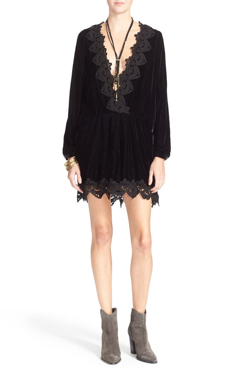 FREE PEOPLE 'Dreams' Lace Trim Tunic Dress, Main, color, 001