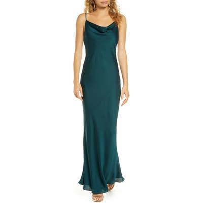Shona Joy Cowl Neck Satin Gown, Green