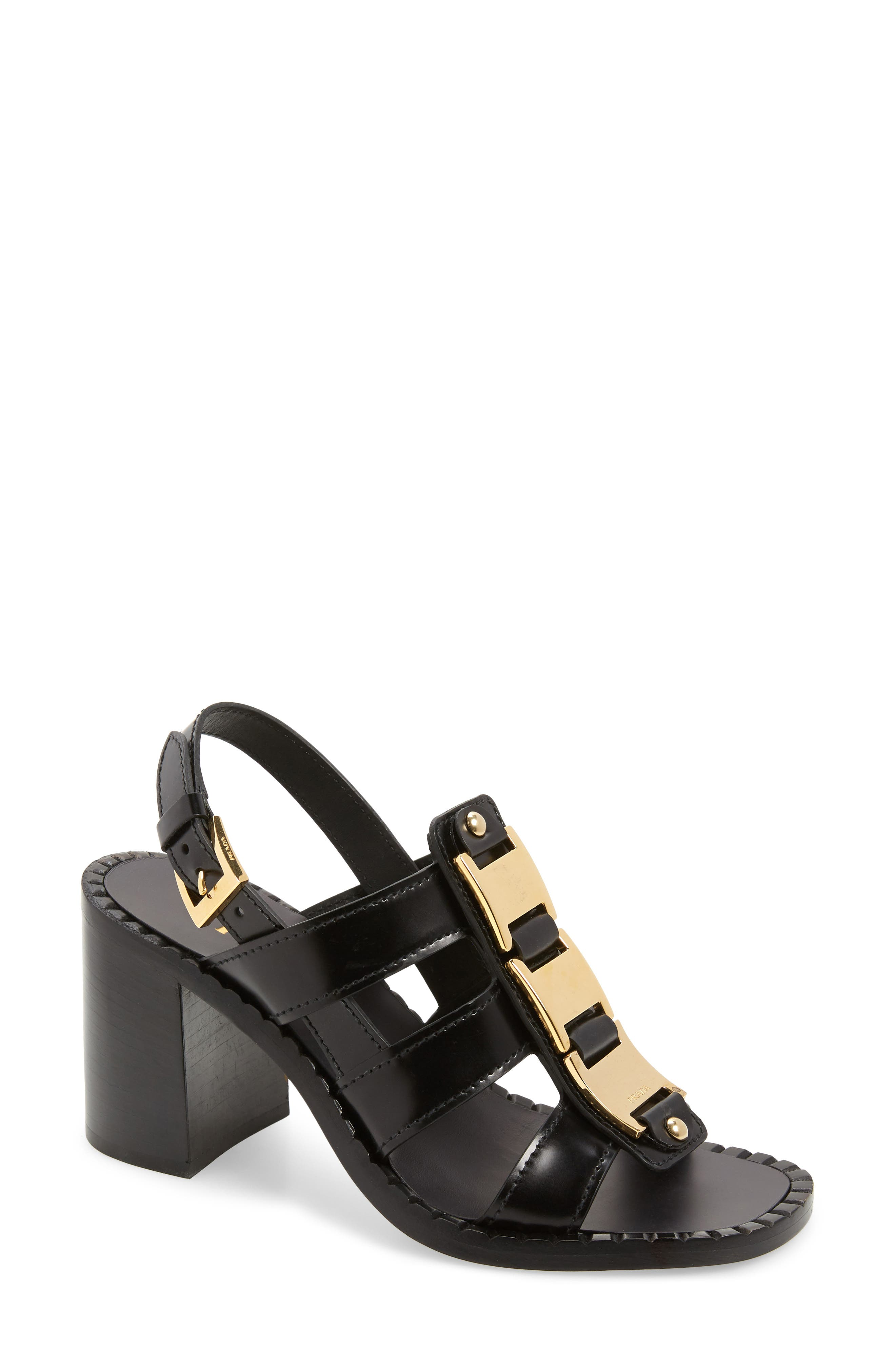 Pre-order this style today! Add to Shopping Bag to view approximate ship date. You\\\'ll be charged only when your item ships.A fan-textured sole and curved block heel detail a slingback sandal topped with a bold goldtone chain detail. Style Name: Prada Chain Block Heel Sandal (Women). Style Number: 6002524. Available in stores.