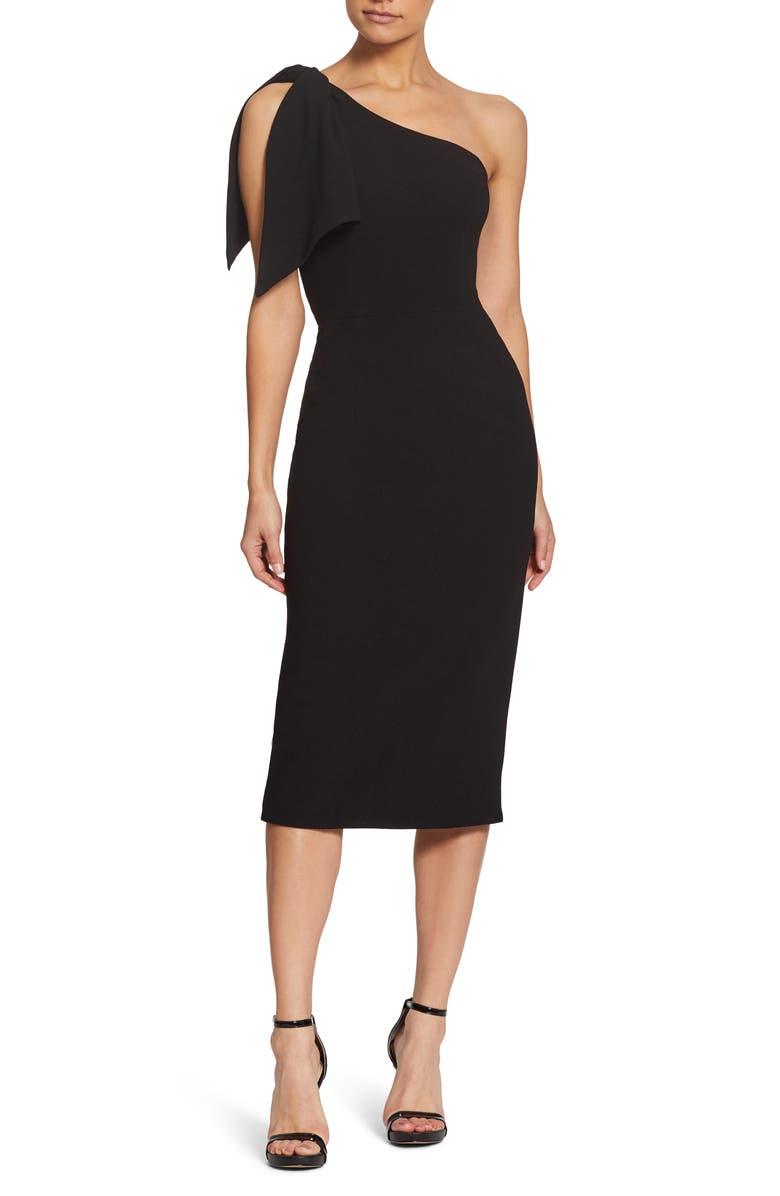 DRESS THE POPULATION Tiffany One-Shoulder Midi Dress, Main, color, BLACK