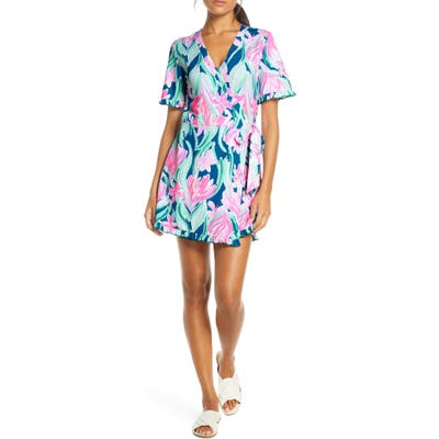 Lilly Pulitzer Liddy Wrap Romper, Blue