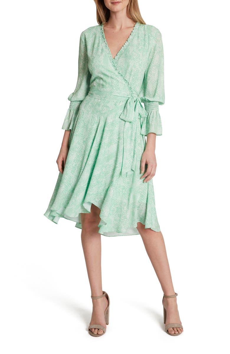 TAHARI Snakeskin Print Chiffon Faux Wrap Dress, Main, color, MINT SNAKE