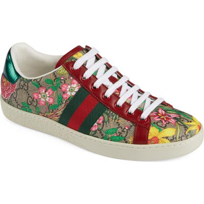 Gucci New Ace Gg Supreme Floral Sneaker, Beige