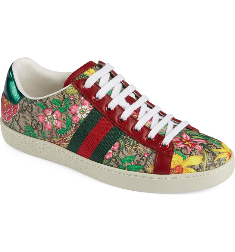 GUCCI New Ace GG Supreme Floral Sneaker, Main, color, BEIGE