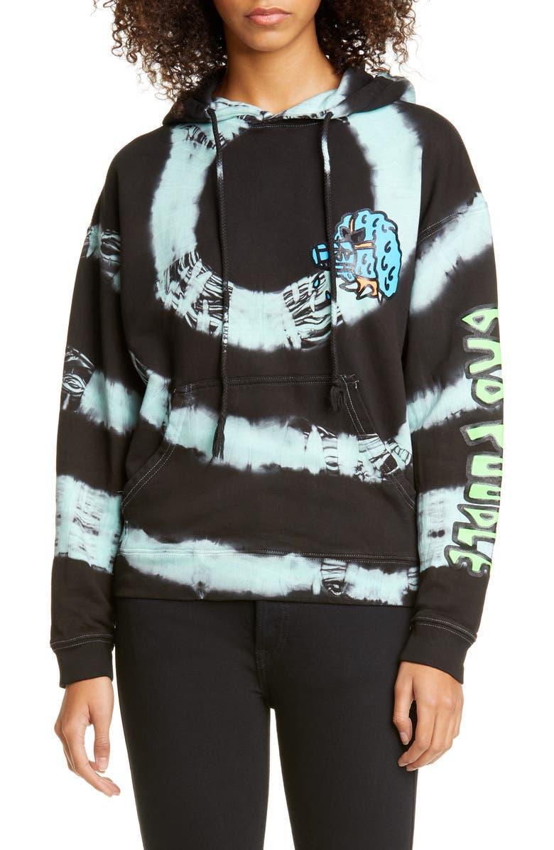 ASHLEY WILLIAMS Bad Poodle Tie Dye Cotton Hoodie, Main, color, MINT/ BLACK TIE DYE