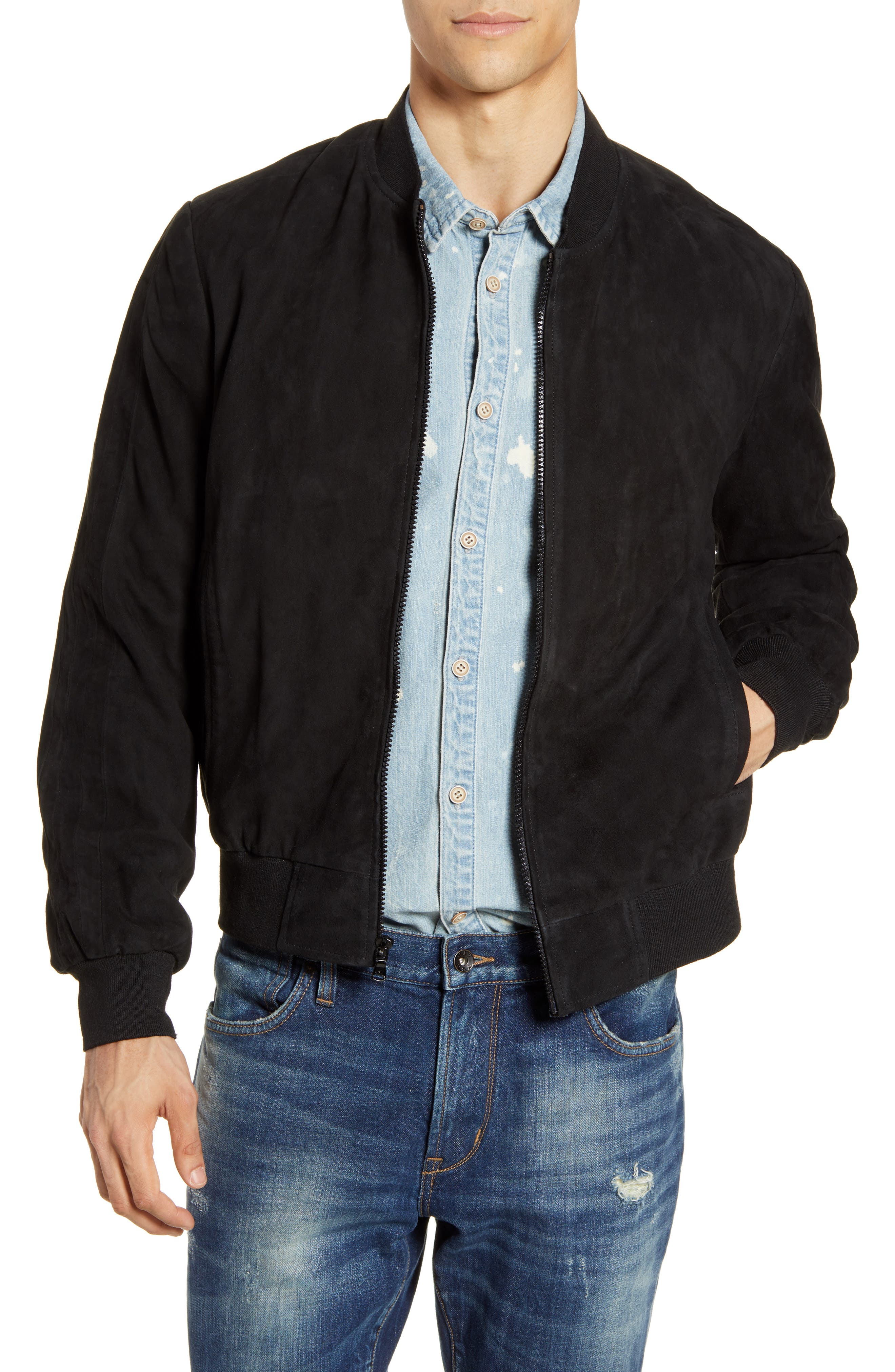 John Varvatos Star Usa Noel Regular Fit Suede Bomber Jacket, Black