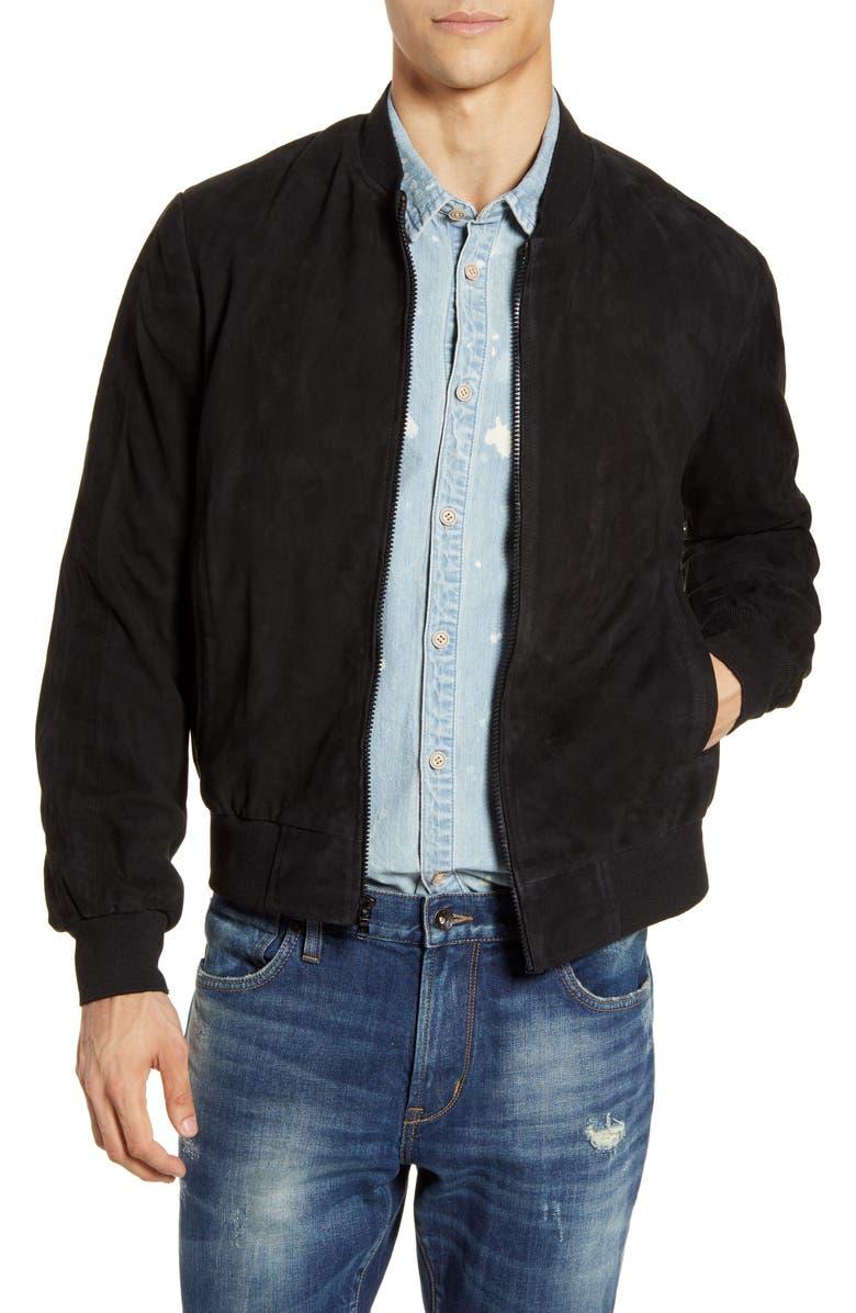 JOHN VARVATOS STAR USA Noel Regular Fit Suede Bomber Jacket, Main, color, 001