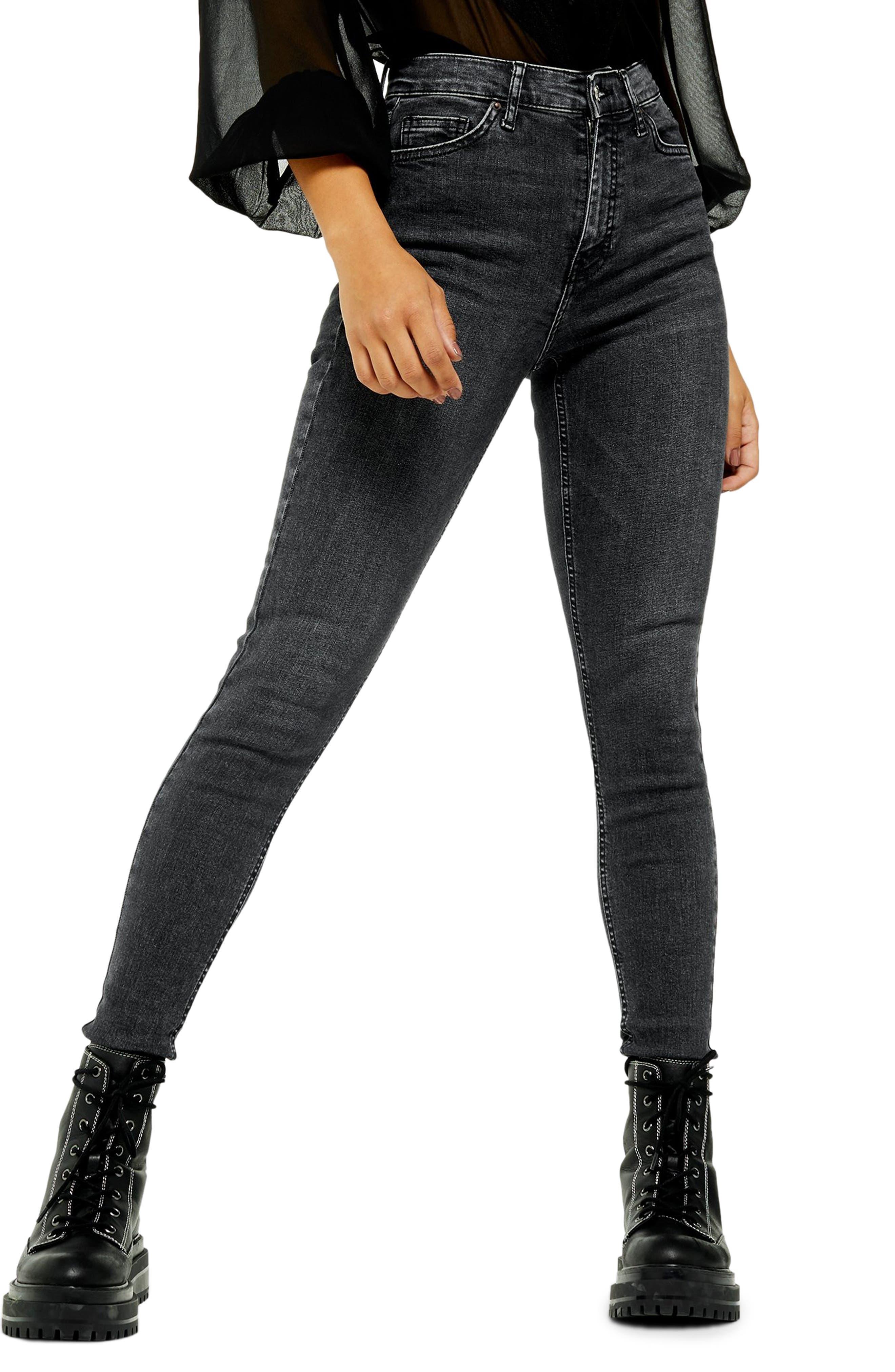 Topshop Jamie Raw Hem Jeans (Washed Black)