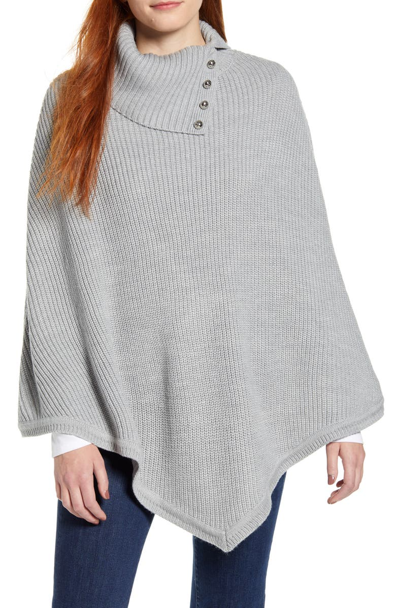 MICHAEL MICHAEL KORS Rib Poncho, Main, color, PEARL HEATHER GREY