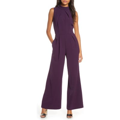 Julia Jordan Mock Neck Wide Leg Jumpsuit, Purple