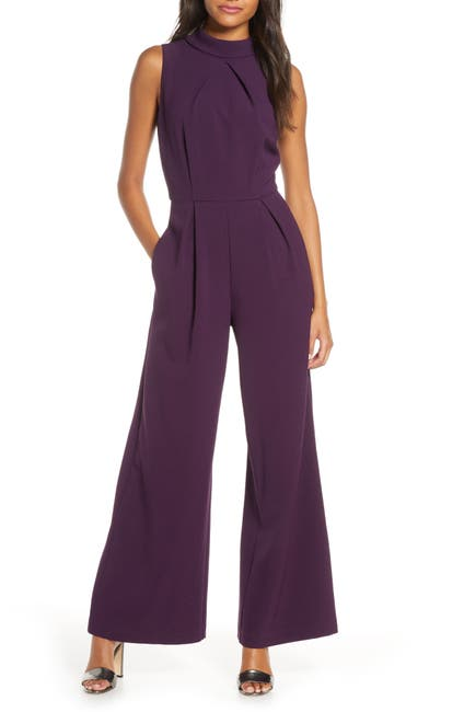 Image of Julia Jordan Mock Neck Sleeveless Wide Leg Jumpsuit