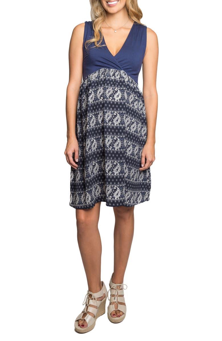 EVERLY GREY Cleo Maternity/Nursing Dress, Main, color, NAVY