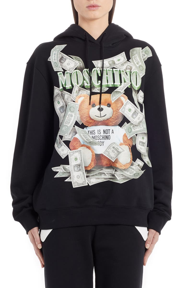 MOSCHINO Bear Money Graphic Hoodie, Main, color, BLACK