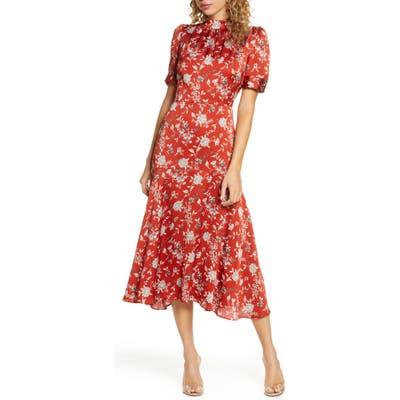 Chelsea28 Floral Satin Midi Dress, Orange