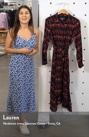 Long Sleeve Geo Print Shirtdress, sales video thumbnail
