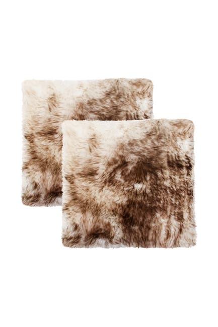 "Image of Natural New Zealand Genuine Sheepskin Shearling Chair Seat Pad - Set of 2 - 17"" x 17"" - Gradient Chocolate"