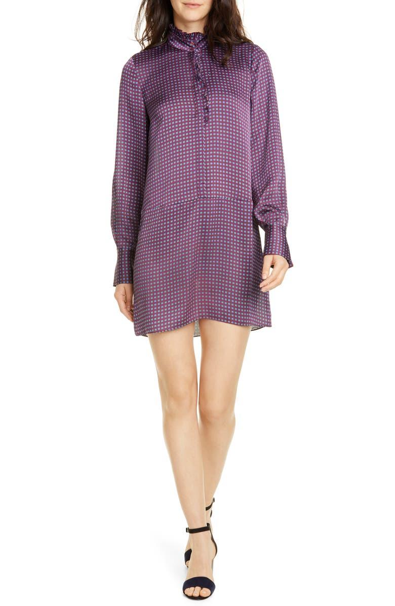 JOIE Prynn Ruffle Neck Long Sleeve Shirtdress, Main, color, 930