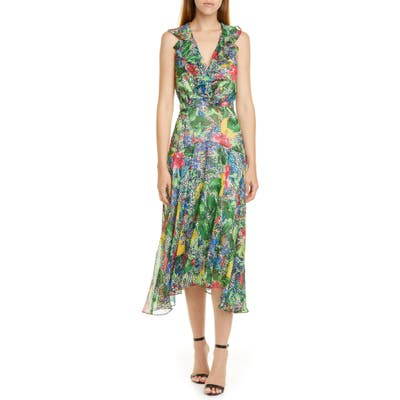 Saloni Rita Ruffle Dress, Green